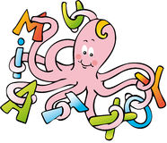 Octopus letters. Octopus man of letters with letters between the tentacles Stock Images