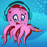 Octopus listening music Royalty Free Stock Photography