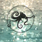 Octopus logo. On the sea background Royalty Free Stock Images