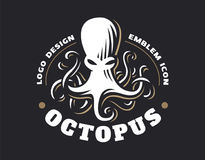 Octopus logo - vector illustration. Emblem design. On black background Stock Image