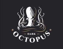 Octopus logo - vector illustration. Emblem design. On dark background Royalty Free Stock Photo