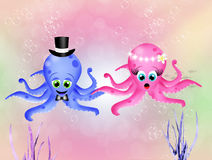 Octopus in love Royalty Free Stock Photography