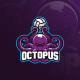 Octopus Mascot Logo Vector Design With Modern Illustration Concept Style For Badge, Emblem And T Shirt Printing. Octopus Royalty Free Stock Photos