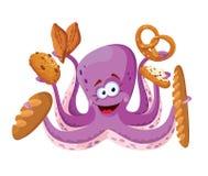 Octopus met gebakje Stock Afbeeldingen