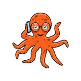 Octopus with mobile phone Stock Photo