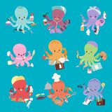 Octopus mollusk ocean coral reef animal character different pose like human and cartoon funny graphic marine life. Octopus mollusk ocean coral reef animal Stock Images