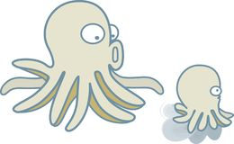 Octopus, squid Mom and Son diving in the blue ocean royalty free illustration