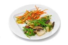 Octopus with mushrooms, carrot and seaweed Royalty Free Stock Photos