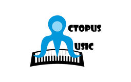 Octopus music. A logo shows initials O and M that together form a  blue octopus that plays a keyboard with its tentacles Royalty Free Stock Photography