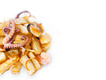Octopus, mussel and shrimp with french fries Stock Photo