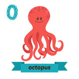 octopus O brief Leuk kinderen dierlijk alfabet in vector Funn Royalty-vrije Stock Afbeeldingen