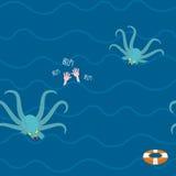 Octopus in oceaan De mens verdrinkt naadloos patroon Het herhalen van Golven i stock illustratie