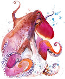Octopus. Octopus watercolor illustration. Underwater word Royalty Free Stock Image