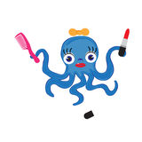 Octopus. Octopussy with a bow does makeup. Vector Royalty Free Stock Photo