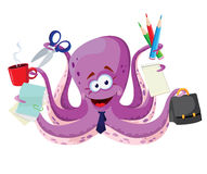 Octopus with office supplies Stock Photo