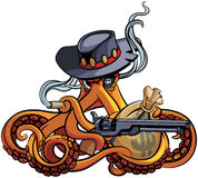 Octopus the Outlaw. Vector colourful illustration of octopus in the broad-brim with handgun and bag with money in his tentacles, isolated on white background Stock Photography
