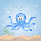 Octopus with pacifier Royalty Free Stock Images