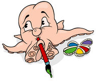 Octopus Painter Holding Brush Royalty Free Stock Photography