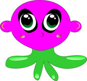 Octopus. With pink head,green tentacles and big eyes Royalty Free Stock Photography