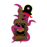 Octopus pirate and bottle of rum. poulpe buccaneer and brandy. E. Ye patch and smoking pipe. pirates cap. Bones and Skull. See animal filibuster and binge royalty free illustration