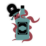 Octopus pirate and bottle of rum. poulpe buccaneer and brandy. E. Ye patch and smoking pipe. pirates cap. Bones and Skull. See animal filibuster and binge vector illustration
