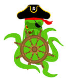 Octopus pirate and Handwheel. poulpe buccaneer and Rudder. Eye p Royalty Free Stock Photography