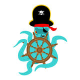 Octopus pirate and Handwheel. poulpe buccaneer and Rudder. Eye p Stock Photos