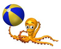 Octopus playing with beach ball stock illustration