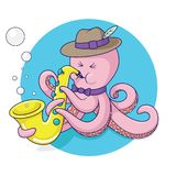 Octopus plays saxophone vector Vector Illustration