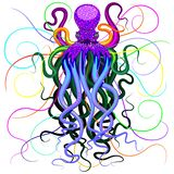 Octopus Psychedelic Luminescence. Psychedelic and Luminescent Octopus Fantasy Art floating on black deep water, looking like a ocean ghost, a hologram, or even a royalty free illustration