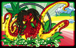 Octopus rastafari. Illustration of an rastafari octopus floating over green water and jamaican flag in background Stock Photos