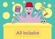 Octopus vector. Octopus at a reception desk offers all-inclusive. Vector illustration.  Stock Photo