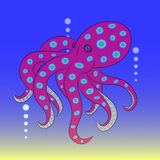 Octopus red vector. Octopus illustration  with dark blue background Stock Photo