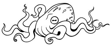Octopus Resting Drawing Stock Photo