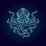 Octopus in retro deep diving suit. Eye of Providence. Stock Photos