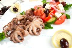 Octopus in rode wijn stock afbeelding