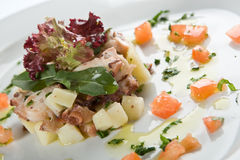 Octopus salad. With potatos and olive oil royalty free stock images