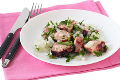 Octopus salad on a plate Royalty Free Stock Images