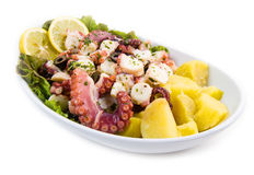 Octopus salad with potatoes Stock Image