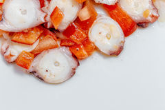 Octopus salad with tomato, red pepper, onion, olive oil, vinegar and salt Stock Photos