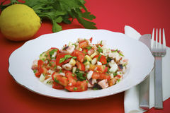 Octopus salad with tomatoes and parsley Stock Image