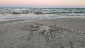 Octopus sand sculpture Stock Photo