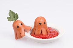 Octopus from sausage. Royalty Free Stock Image
