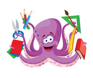 Octopus with school supplies Stock Photo