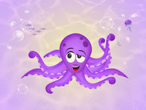 Octopus on the seabed. Illustration of octopus on the seabed Royalty Free Stock Photo