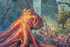 Octopus sealife 3d painting in gallery at Art In Paradise pattaya.Interactive art museum Thailand 3June2018 stock photos
