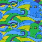 Octopus - seamless  patter Stock Photos