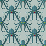 Octopus seamless pattern. Vector background green kraken. Retro Stock Photos
