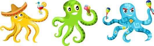 Octopus set Royalty Free Stock Images