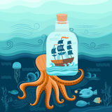 Octopus and ship Royalty Free Stock Photo